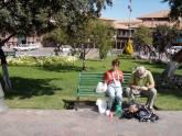 Mum & Frank eating lunch, Cuzco, Peru