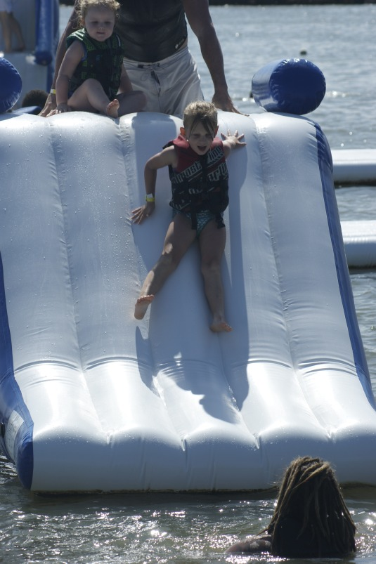 Sliding at the Aqua Park